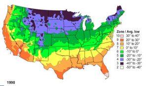 US Plant Hardiness Zone Map 1990